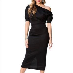 Black Midi Button shoulder dolman sleeve dress XL